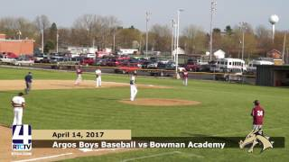 Argos Boys Baseball vs. Bowman Academy