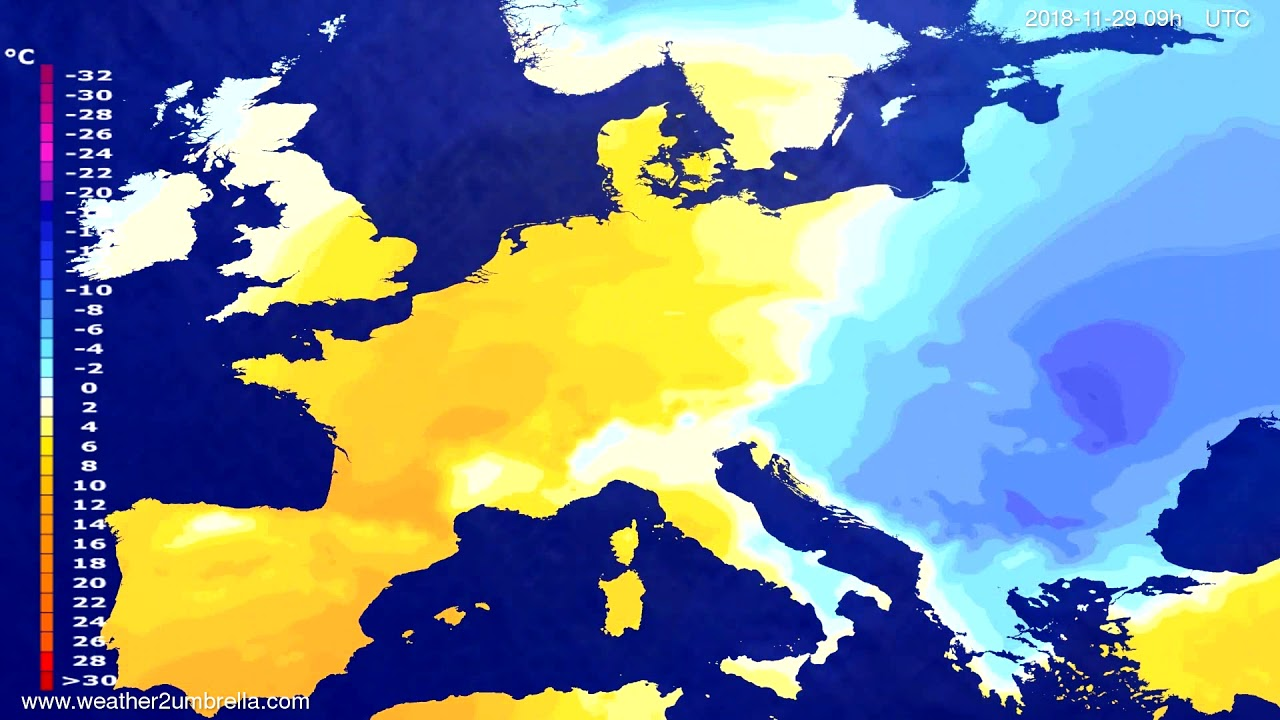 Temperature forecast Europe 2018-11-27
