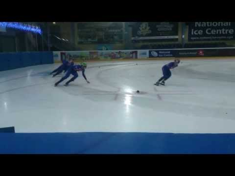 GB short track speed skating team practice for Sochi 2014 Winter Olympics
