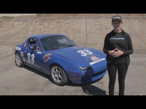 Natalie Fenaroli and her Spec Miata Race Car