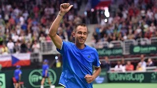 Lukas Rosol outlasted Jo-Wilfried Tsonga in the opening rubber of the Davis Cup by BNP Paribas World Group quarterfinal to win 64 36 46 76(8) 64 and give the...
