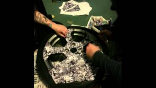 Process of sticker boming a wheel