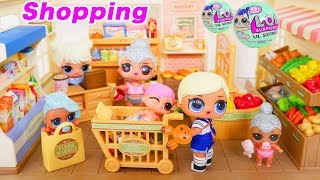 LOL Surprise Dolls + Lil Sisters Shopping at Grocery Store