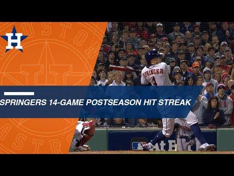 Video: George Springer's 14-game postseason hit streak