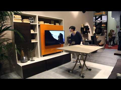 Smart Living by Ozzio Design -  mobile porta tv con tavolo trasformabile, wall unit with tv stand
