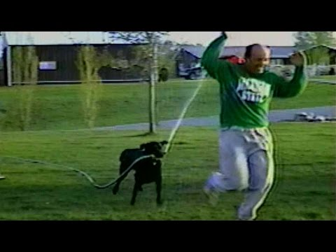 Un cane annaffia il suo padrone