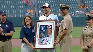 Darren O'Day receives the Bob Feller Act of Valor award for his continued support for the nation's servicemen and servicewomenCheck out http://MLB.com/video for more!About MLB.com: Former Commissioner Allan H. (Bud) Selig announced on January 19, 2000, that the 30 Major League Club owners voted unanimously to centralize all of Baseball's Internet operations into an independent technology company. Major League Baseball Advanced Media (MLBAM) was formed and charged with developing, building and managing the most comprehensive baseball experience available on the Internet. In August 2002, MLB.com streamed the first-ever live full length MLB game over the Internet when the Texas Rangers and New York Yankees faced off at Yankee Stadium. Since that time, millions of baseball fans around the world have subscribed to MLB.TV, the live video streaming product that airs every game in HD to nearly 400 different devices. MLB.com also provides an array of mobile apps for fans to choose from, including At Bat, the highest-grossing iOS sports app of all-time. MLB.com also provides fans with a stable of Club beat reporters and award-winning national columnists, the largest contingent of baseball reporters under one roof, that deliver over 100 original articles every day. MLB.com also offers extensive historical information and footage, online ticket sales, official baseball merchandise, authenticated memorabilia and collectibles and fantasy games.Major League Baseball consists of 30 teams split between the American and National Leagues. The American League consists of the following teams: Baltimore Orioles; Boston Red Sox; Chicago White Sox; Cleveland Indians; Detroit Tigers; Houston Astros; Kansas City Royals; Los Angeles Angels ; Minnesota Twins; New York Yankees; Oakland Athletics; Seattle Mariners; Tampa Bay Rays; Texas Rangers; and Toronto Blue Jays. The National League, originally founded in 1876, consists of the following teams: Arizona Diamondbacks; Atlanta Braves; Chicago Cubs; Cincinnati Reds; Colorado Rockies; Los Angeles Dodgers; Miami Marlins; Milwaukee Brewers; New York Mets; Philadelphia Phillies; Pittsburgh Pirates; San Diego Padres; San Francisco Giants; St. Louis Cardinals; and Washington Nationals.Visit MLB.com: http://mlb.mlb.comSubscribe to MLB.TV: http://mlb.tvDownload MLB.com At Bat: http://mlb.mlb.com/mobile/atbatDownload MLB.com Ballpark: http://mlb.mlb.com/mobile/attheballparkDownload MLB.com Clubhouse: http://mlb.com/clubhousePlay Beat The Streak: http://mlb.mlb.com/btsGet MLB Tickets: http://mlb.mlb.com/ticketsGet Official MLB Merchandise: http://mlb.mlb.com/shopConnect with us:YouTube: http://youtube.com/MLB Facebook: http://facebook.com/mlbInstagram: http://instagram.com/mlbTwitter: http://twitter.com/mlbPinterest: http://pinterest.com/mlbofficialTumblr: http://mlb.tumblr.comGoogle+: http://plus.google.com/+MLB