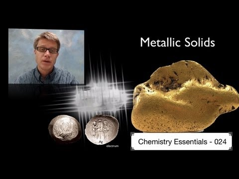 Metallic - 024 - Metallic Solids In this video Paul Andersen explains how metallic solids form when delocalized electrons hold the positive nuclei in an electron sea. T...