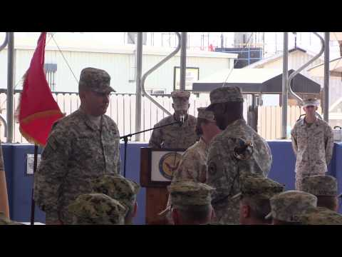 Sgt. Maj. Claudell Taylor relieves Sgt. Maj. Bonnie Skinner at Camp Lemonnier, Djibouti.