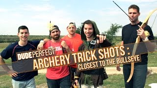 DUDE PERFECT | Archery Trick Shots: Closest To The Bullseye