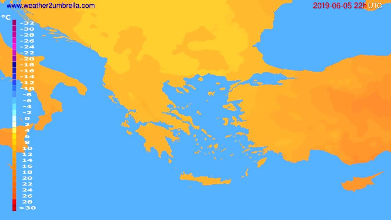 Temperature forecast Greece // modelrun: 00h UTC 2019-06-03
