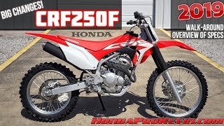2. 2019 Honda CRF250F Review of Specs / Changes + Walk-Around | CRF 250 Dirt / Trail Bike