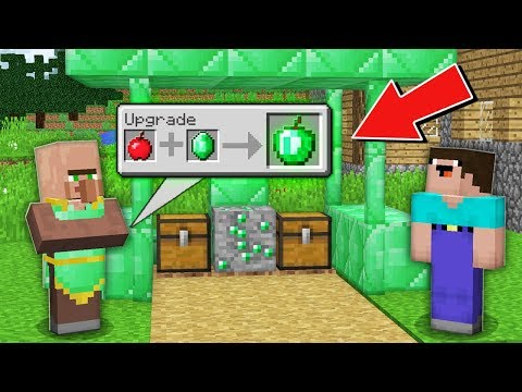 Minecraft NOOB vs PRO: ONLY THIS VILLAGER UPGRADE ANY ITEMS INTO EMERALD Challenge 100% trolling