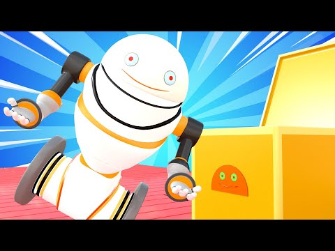 Tiny Trucks - Robot asssistant - Kids Animation with Street Vehicles Bulldozer, Excavator & Crane