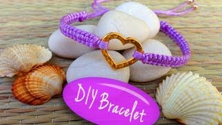 DIY Bracelet! Bracelet Making Tutorial with String and a Heart Charm - YouTube