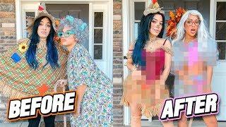 Making Ugly Halloween Costumes HOT Challenge (costume flip) by Niki and Gabi
