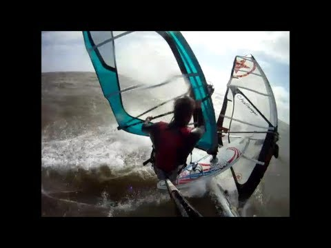 Windsurfing (and a crash) in Ouddorp Holland, Rider: Ronald Stout Mei 2013