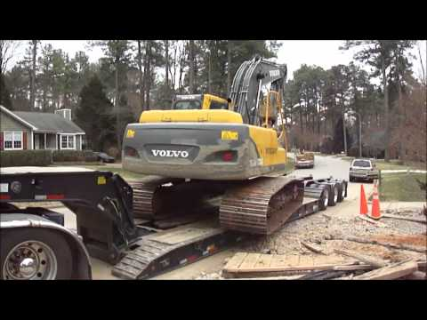 Excavator Side Loading onto Lowboy