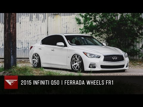 2015 Infiniti Q50 bagged   Ferrada FR1 Machine Silver / Chrome Lip