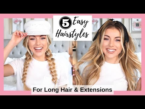 5 Easy Hairstyles for Long Hair & Extensions  Tutorial