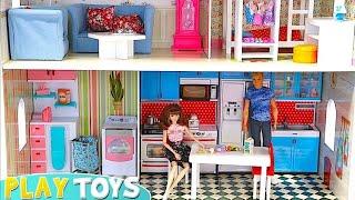 Barbie Huge Doll House! Play Baby Dolls House Furniture! Barbie Bedroom, Bathroom, Kitchen Toys