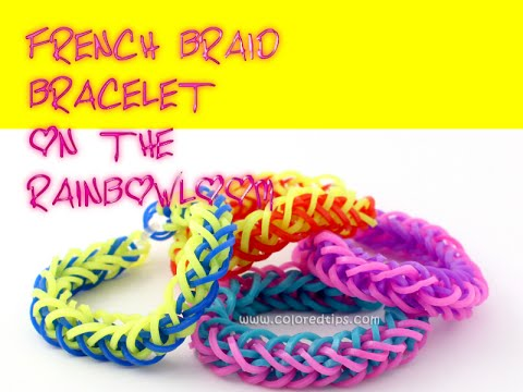 French braid rubber band bracelet/rainbow loom