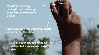 Full Theory - http://rushisbiz.com/how-to-bowl-off-break/ The off break grip has to be comfortable with index and middle fingers nicely resting on cross seam...