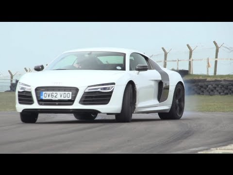 Audi - First big group test of 2013. Audi's R8 has a new dual-clutch transmission, the Turbo S is on its way out and for £20k, Litchfield will give you a 750hp GT-R...