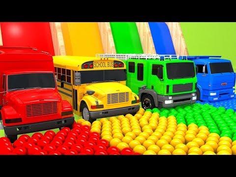 Kolorowe auta Autobus szkolny skacze w Basen Nauka Kolorów