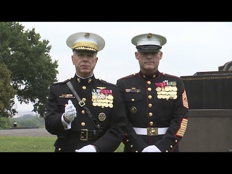 Marines - The Commandant of the Marine Corps, Gen. James F. Amos, and the Sgt. Maj. of the Marine Corps Micheal P. Barrett, speak to Marines and sailors about the time...