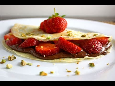 How to Make Crepes, Strawberry Banana Nutella Crepe Dessert (AprilAthena7)