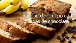 Cómo hacer panqué de plátano con chispas de chocolate