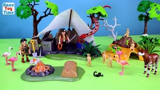 Hi kids, RaceToyTime here! Today, we are going to show, build and play with the Playmobil Treasure Hunters Camp with Giant Snake, Buffalos and the Meerkats habitat or den. In this video, you will see some other animals like flamingos, rhinoceros, okapi, and wildebeests.  I hope you guys enjoy this video. Please be sure to subscribe to our channel if you haven't already, and like and share our videos. We have a lot of videos on our channel. Watch them all! We'll make more! Comment below if you like and as always, thanks for watching!Subscribe to racetoytime here - https://www.youtube.com/channel/UCVTQrl1dtafYX08IBb7EhrwWatch our other videos:  Learn Animal Toys Names │ Zoo Animals Elephant Lion Tiger Rhino for Kids - https://www.youtube.com/watch?v=KnsmONvQyeYLearning Sea Animals Toy Sharks Whales Dolphin - https://www.youtube.com/watch?v=9i88w4UqPnADinosaur Surprise Toys Game in the Claw Machine -  Learn Dinosaurs Names For Children - https://www.youtube.com/watch?v=H8AkVqFrxhoJurassic World Mini Dinosaurs Figures Blind Bag Exclusive Indominus Rex  - https://www.youtube.com/watch?v=_bgyS74lUR8Playmobil City Zoo Toy Wild Animals Building Set Build Review - https://www.youtube.com/watch?v=g5dbYcmUHZ8Playmobil City Life Large Zoo Toy Wild Animals Building Set Build Review - https://www.youtube.com/watch?v=IZXfiFPyW8EDinosaurs 3D Puzzles Animals Eggs Surprise Toys - Spinosaurus Ankylosaurus Pteranodon - https://www.youtube.com/watch?v=VJuukvLmpSgDinosaur Transforming Eggs Toys - Tyrannosaurus Rex Pterodactyl Velociraptor Triceratops - https://youtu.be/HT_CFeMP9GkToy Wild Animals 3D Puzzles Collection - Lion Panda Elephant Zebra Tortoise │ Animals for children - https://youtu.be/yabb98z1WC8Playmobil Toy Wild Zoo Animals Collection For Kids - Tiger Panda Koala Gorilla - https://youtu.be/L06I3WiWjNsPLAYMOBIL Country Farm Animals Pen and Hen House Building Set Build Review  - https://www.youtube.com/watch?v=dGplrNa-NZkPLAYMOBIL Toy Wild Zoo Animals Collection For Kids - Tig