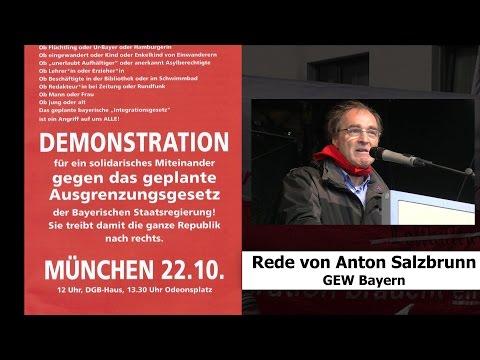 Demo gegen das bayerische Integrationsgesetz: Rede von Anton Salzbrunn, GEW Bayern