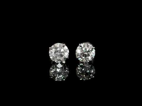 CGL Certified 2.61ct (TDW) Round Brilliant 'Hearts and Arrows' Cut Canadian Diamonds Stud Earrings