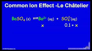 Common Ion Effect, Le Chatelier's