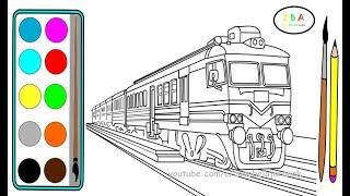 Kereta Api #2 |Cara Menggambar dan Mewarnai Kereta Api Merah