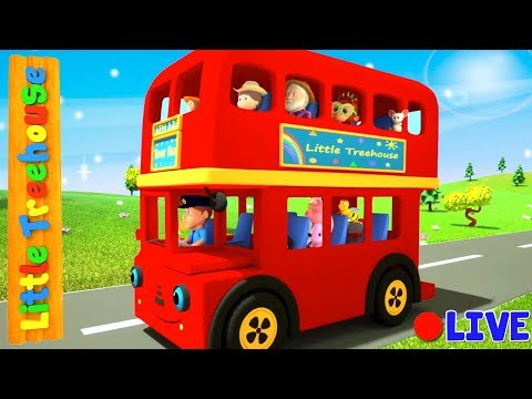 Wheels On The Vehicles | Bus Cartoons for Kids by Little Treehouse - Live Stream