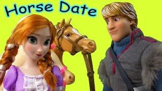 Disney Frozen  Princess Anna Kristoff Horseback Riding Picnic Part 28 Barbie Dolls Series Video