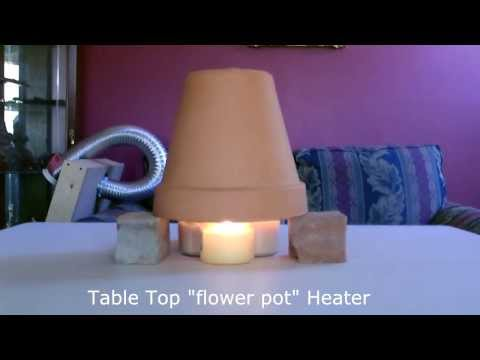 heater - Candle Powered Space Heater. This Homemade Radiant Air Heater is easy to make and small enough to be placed on table top or desk top. clay pots absorb the he...