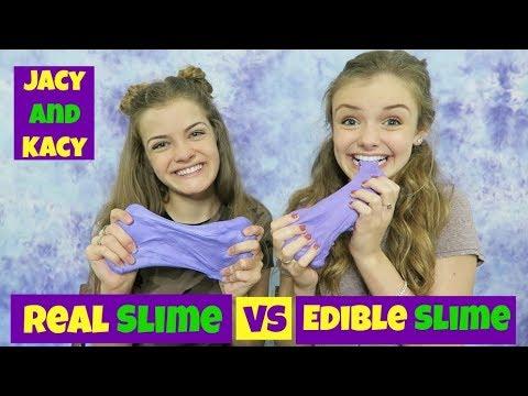 Real Slime vs Edible Slime Challenge ~ Jacy and Kacy (видео)