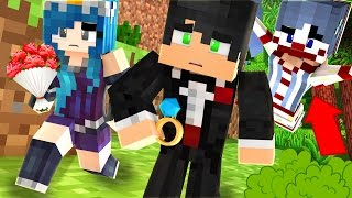 Minecraft Camping - CRAZY CLOWN WON'T STOP FOLLOWING US! THE MARRIAGE IS OVER! (Minecraft Roleplay)