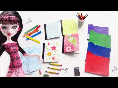 Crafts - How to make doll school supplies part 1: 10 crafts in 1 pencils, notebooks, eraser, scissors, etc https://www.youtube.com/watch?v=jx5a583M7g0 How to make dol...