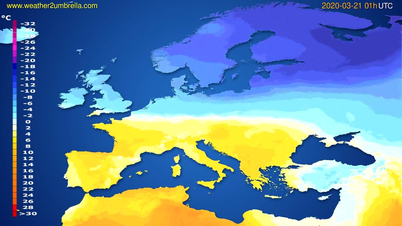 Temperature forecast Europe // modelrun: 12h UTC 2020-03-19