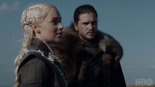 "Kit Harington, Emilia Clarke, and Iain Glenn offer a closer look at Jon, Dany, and Jorah's tender moment in ""Eastwatch."" Game of ..."