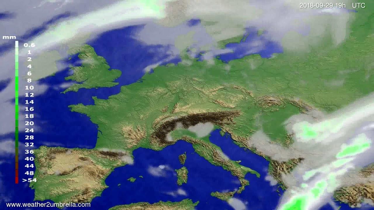 Precipitation forecast Europe 2018-09-27