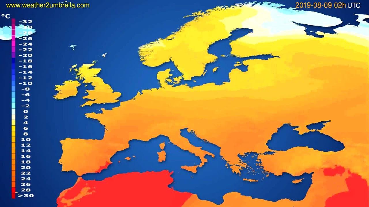 Temperature forecast Europe // modelrun: 00h UTC 2019-08-06