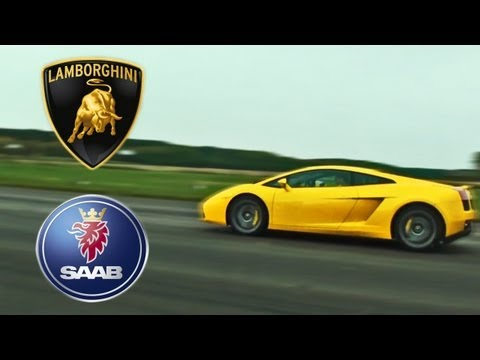 lamborghini gallardo e-gear vs saab 9-3 aero - bolidi incredibili