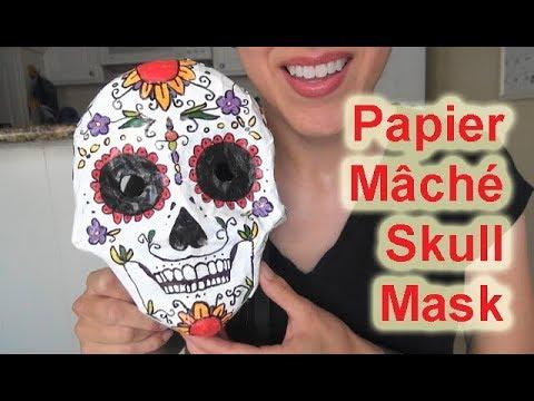 ASMR: Day of the Dead Papier Mâché Skull Mask   Sugar Skull Mask   Día de muertos