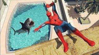 GTA 5 Epic Spiderman water ragdolls vol.1 (Euphoria physics)